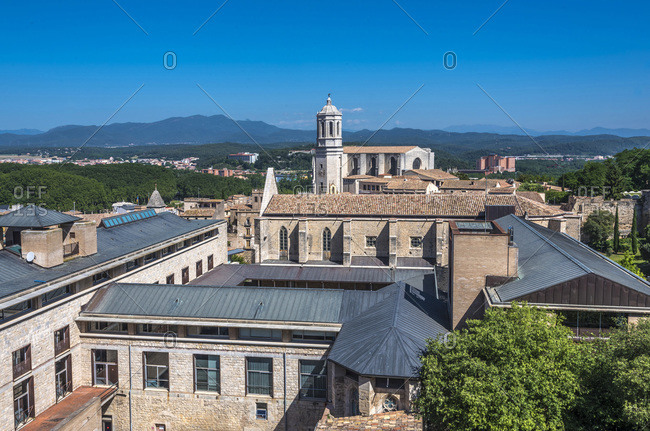 Spain, Catalonia, Girona, university and Girona cathedral