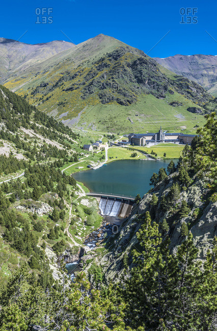 Spain, Catalonia, Pyrenees, comarque of Ripolles, Sanctuary of the Virgen of Nuria, and reservoir