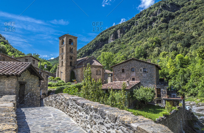 Spain, Catalonia, Pyrenees, province of Girona, mountain village of Beget, bridge and Romanesque church of Sant Cristofol (Lombard Romanesque bell tower)