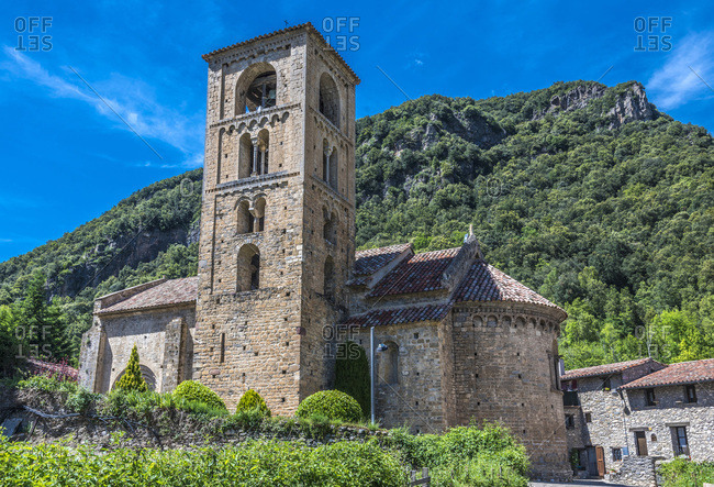 Spain, Catalonia, Pyrenees, province of Girona, mountain village of Beget, Romanesque church of Sant Cristofol (Lombard Romanesque bell tower)