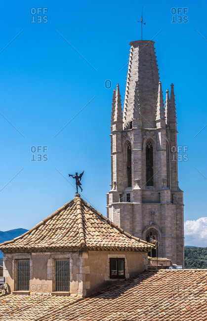 Spain, Catalonia, Girona, church of St. Felix  bell tower (14th-16th centuries)