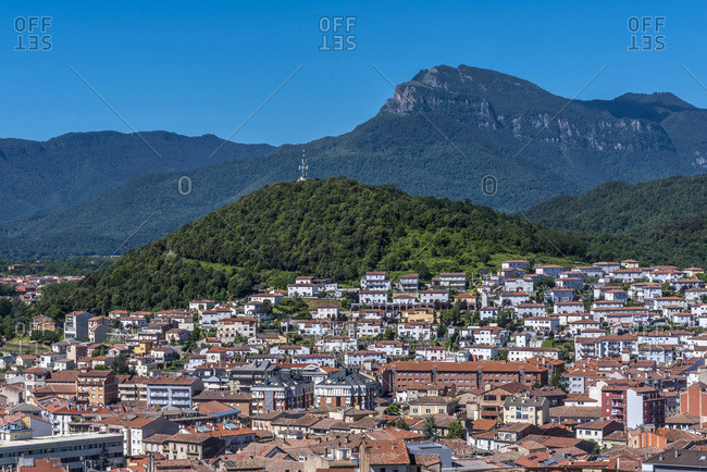 Spain, Catalonia, Garrotxa Volcanic Zone Natural Park, extinct volcanos around the city of Olot