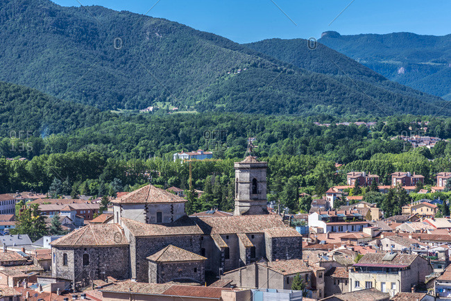 Spain, Catalonia, Garrotxa Volcanic Zone Natural Park, Olot, Sant Esteve and extinct volcanos