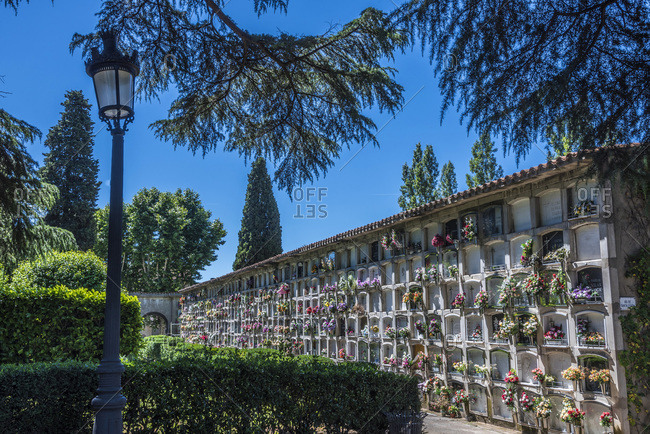Spain - June 19, 2016: Spain, Catalonia, Garrotxa Volcanic Zone Natural Park, columbarium in the Olot cemetery