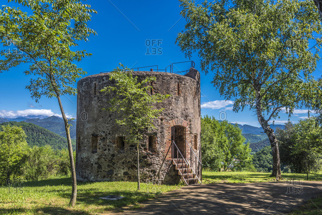 Spain, Catalonia, Garrotxa Volcanic Zone Natural Park, Olot, Montsacopa extinct volcano natural reserve, Sant Esteve lookout tower