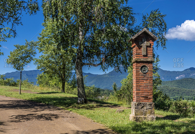 Spain, Catalonia, Garrotxa Volcanic Zone Natural Park, Olot, Montsacopa extinct volcano nature reserve, stations of the Cross of the chapel Sant Esteve
