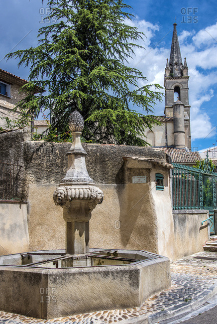 France, Provence-Alpes-Cote d'Azur, Vaucluse, Pernes-les-Fontaines, fountain of the hospital (18th century)