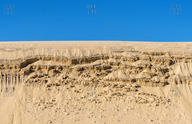 France, Gironde, Bassin d'Arcachon, drawings in the sand of the Dune of Pilat due to the wind
