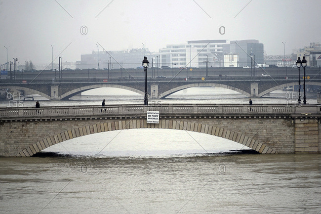 France - January 27, 2018: Europe, France, Ile de France, Paris, the Seine overflowing in January, 28th 2018, The Tolbiac bridge