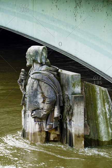 France - January 27, 2018: Europe, France, Ile de France, Paris, the Seine overflowing, 27th, January 2018. The Zouave of the Pont de l'Alma half-submerged by floodwaters.