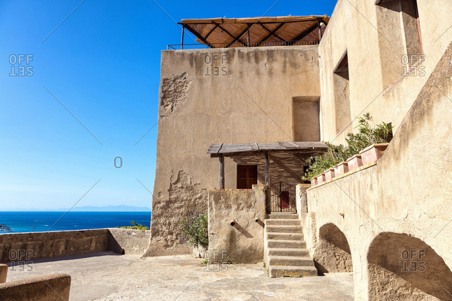 Vestige of a house in the Aragonese castle of Ischia, Forio, Gulf of Naples, Campania region, Italy