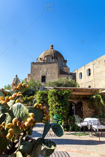 Bar terrace of Aragonese Castle in Ischia, Gulf of Naples, Campania region, Italy