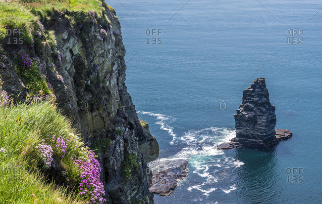 Europe, Republic of Ireland, Clare County, Burren and Cliffs of Moher Geopark (UNESCO World Heritage), North cliffs and rocky outcrop caused by sea erosion
