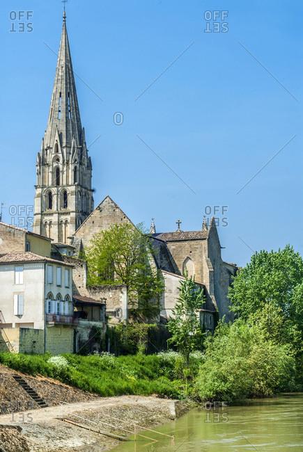 France, Gironde, Haute-Lande girondine, Langon, church Saint-Gervais-Saint-Portais on the bank of La Garonne