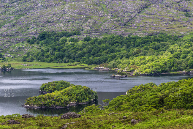 """Republic of Ireland, County Kerry, Killarney National Park, Muckrouse House, lake seen from """"Ladies View"""""""