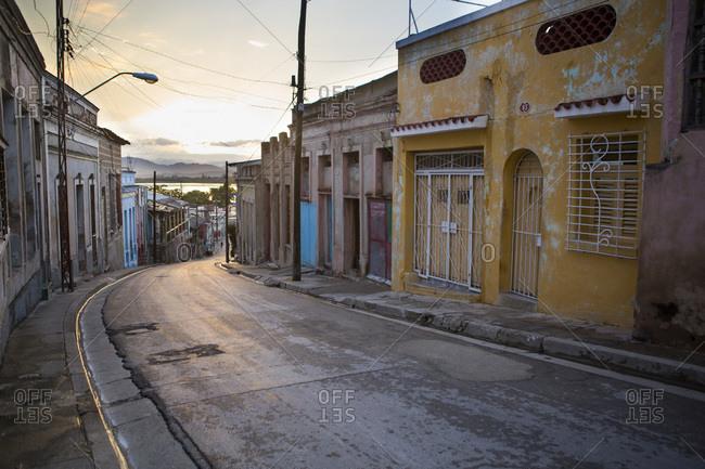 Colourful facade and street in Santiago de Cuba, Cuba