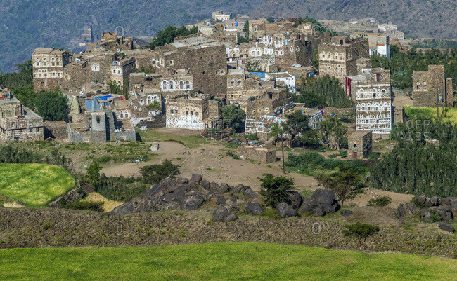 Middle East, Yemen, Centre West, Jebel Harraz region (UNESCO World Heritage Tentative list) Al Hajjarah hilltop village (shooting 03/2007)