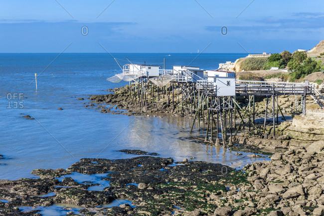 France, Charente-Maritime, Royan, Foncillon district, pointe du Chaix, fishing huts on stilts on the edge of the cornice (GR footpath, and coastline path)