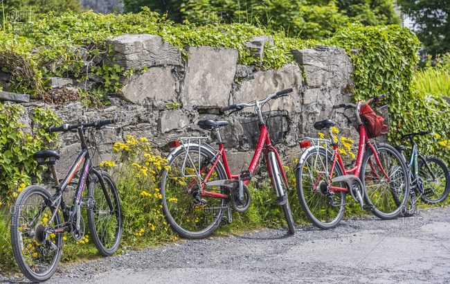 United Kingdom - June 4, 2018: Europe, Republic of Ireland, County Galway, Aran Islands, Inishmore island, bikes used by tourists to visit the island