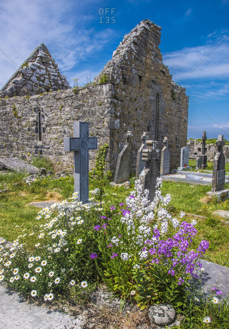 United Kingdom - June 4, 2018: Europe, Republic of Ireland, County Galway, Aran Islands, Inishmore Island, monastic vestiges of the Seven Churches (8th - 9th century, National Monument)