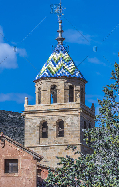 Spain, autonomous community of Aragon, Province of Teruel, Albarracin vilage (Most Beautiful Village in Spain), bell tower of the cathedral (16th century)
