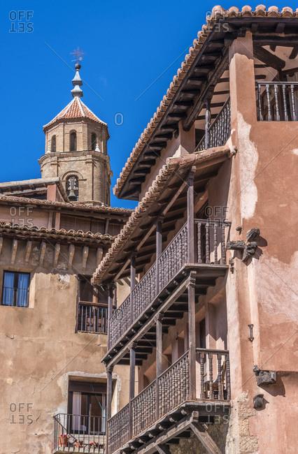 Spain, autonomous community of Aragon, Province of Teruel, Albarracin vilage (Most Beautiful Village in Spain), house with wooden balconies