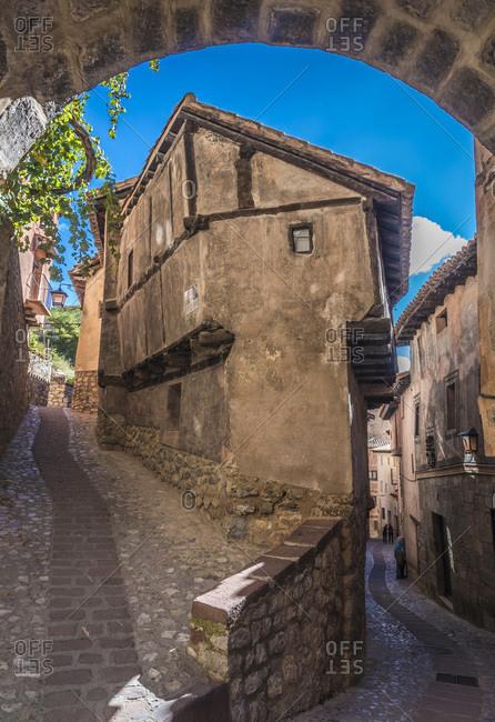 "Spain - October 16, 2018: Spain, autonomous community of Aragon, Province of Teruel, Albarracin vilage (Most Beautiful Village in Spain), artists residence ""casa Julianeta"""