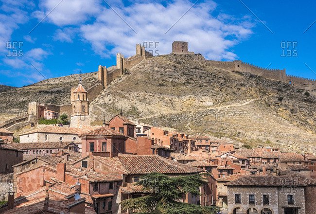 Spain, autonomous community of Aragon, Province of Teruel, walls and houses of the Albarracin vilage (Most Beautiful Village in Spain)