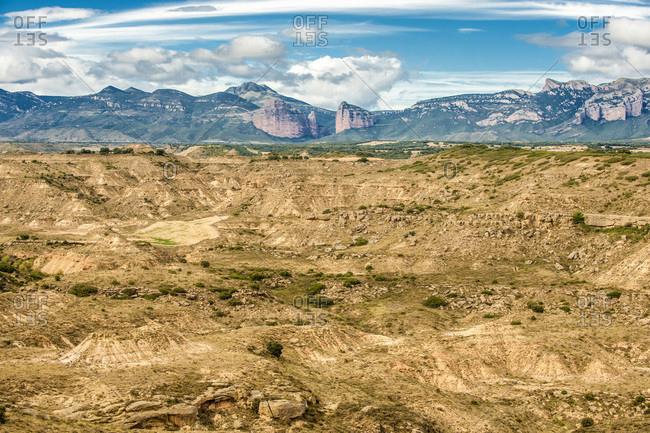 Spain, autonomous community of Aragon, province of Huesca, Pyrenees, Loporzano, bandlands of Monte Aragon and Pena de Arman in the background (Sierra y Canons de Guara natural park)