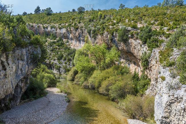 Spain, autonomous community of Aragon, Sierra y Canons de Guara natural park, canyon of the Vero river, ravine of la Fuente (UNESCO World Heritage for the rock site paintings)