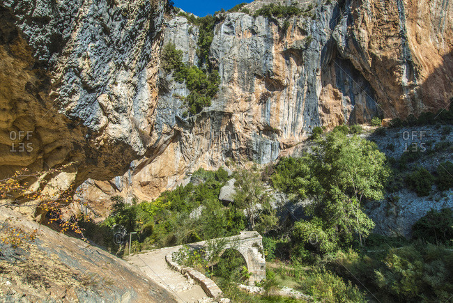 Spain, autonomous community of Aragon, Sierra y Canons de Guara natural park, canyon of the Vero river, the Villacantal bridge (UNESCO World heritage for the rock sites art)