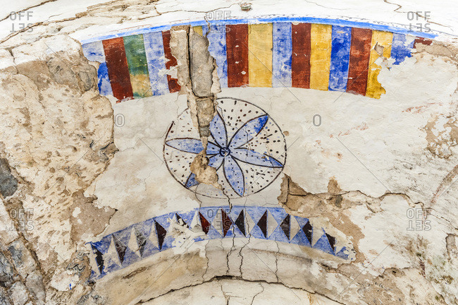 Spain, autonomous community of Aragon, Sierra y Canons de Guara natural park, plateau of the Mascun Canyon, abandonned village of Otin, painted vault of the church in ruins