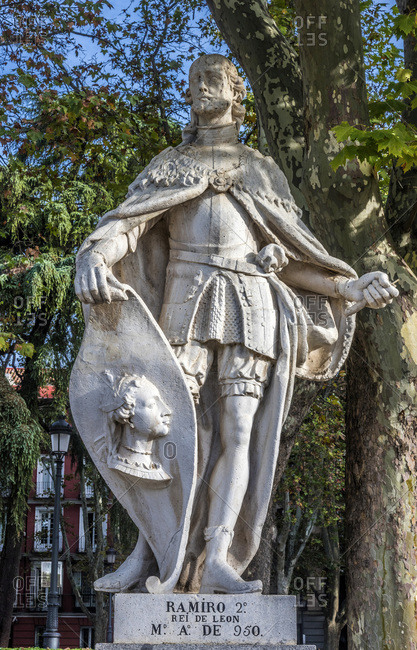 Spain, Madrid, Royal Palace, Cabo Noval garden with statue of the Spanish king Ramiro of Leon