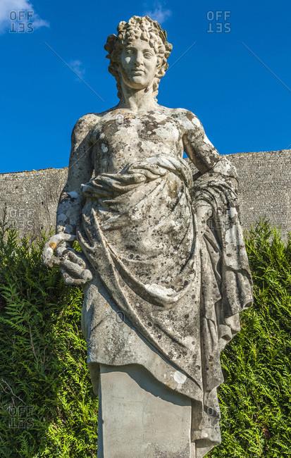 France, Charente Maritime, La Roche-Courbon castle (16th-17th century), statue in the park