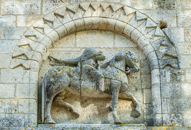 France, Charente Maritime, Surgeres, church of Notre Dame, equestrian illustration in high-relief