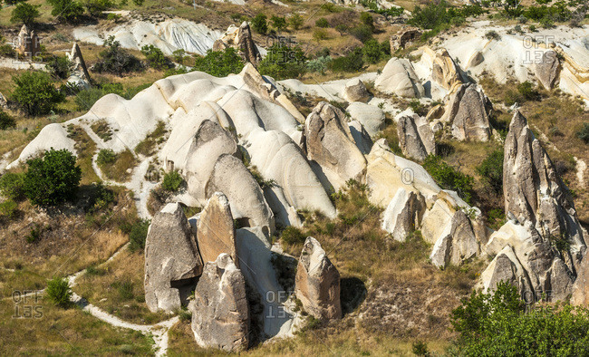 Turkey, Cappadocia, hoodoos in development in the Urgup valley