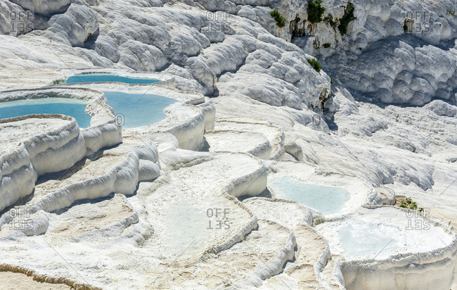 Turkey, Aegean region, Pamukkale (cotton castle) (tuffaceous site formed by mineralized sources of hot water) (UNESCO World Heritage)
