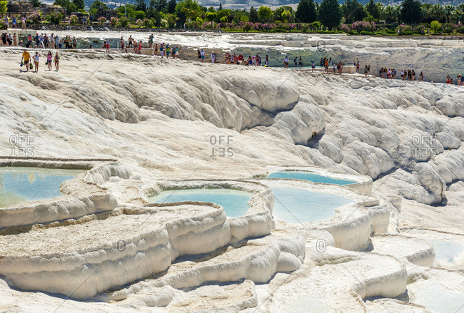 Turkey - June 5, 2015: Turkey, Aegean region, Pamukkale (cotton castle) (tuffaceous site formed by mineralized sources of hot water) (UNESCO World Heritage)