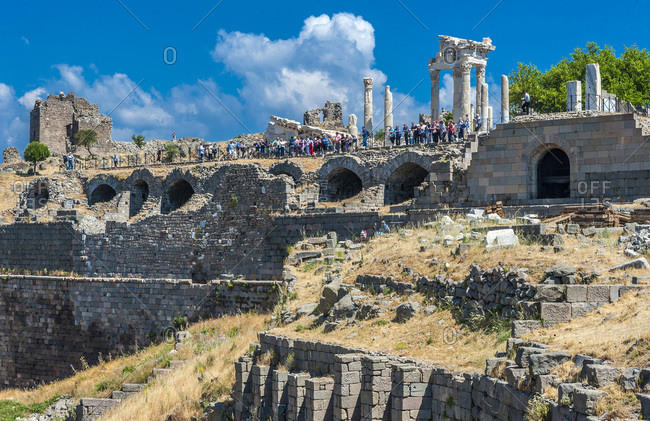 Turkey - June 8, 2015: Turkey, Archeological site of the former city of Minor Asia, Pergamon (Bergama) (3rd century BC and 2nd century AC) (UNESCO World Heritage), Acropolis