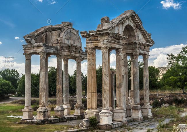 Turkey, Aphrodisias archeological Roman site, Tetrapylon (monumental gateway of the Temple of Aphrodite) (3rd century BC) (UNESCO World Heritage)