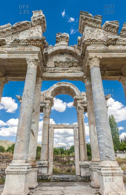 Turkey, Aphrodisias archeological Roman site, Tetrapylon (monumental gateway od the Temple of Aphrodite) (3rd century BC) (UNESCO World Heritage)