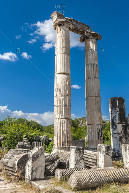 Turkey, Aphrodisias archeological Roman site, columns with ionic style capitals of the Temple of Aphrodite (3rd century, BC)  (UNESCO World Heritage)