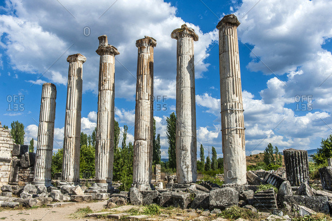 Turkey, Aphrodisias archeological Roman site, columns with ionic style capitals of the Temple of Aphrodite (UNESCO World Heritage)