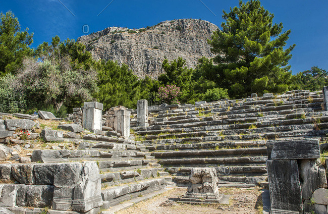Turkey, Ionia, Priene Greek city, Bouleuterion (2nd century BC) (UNESCO World Heritage)