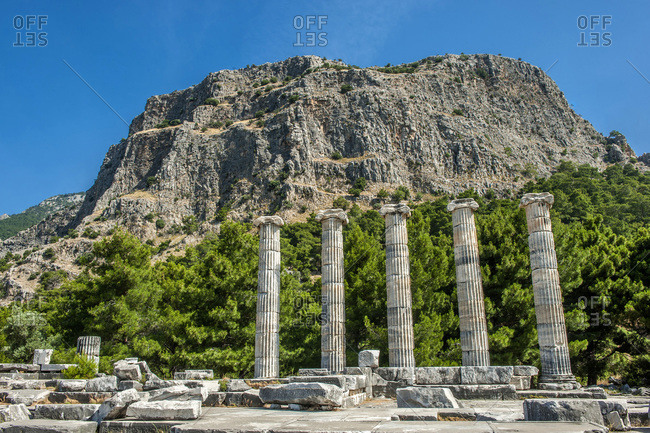 Turkey, Ionia, Priene Greek city, columns of the temple of Athena (350, BC) (UNESCO World Heritage)