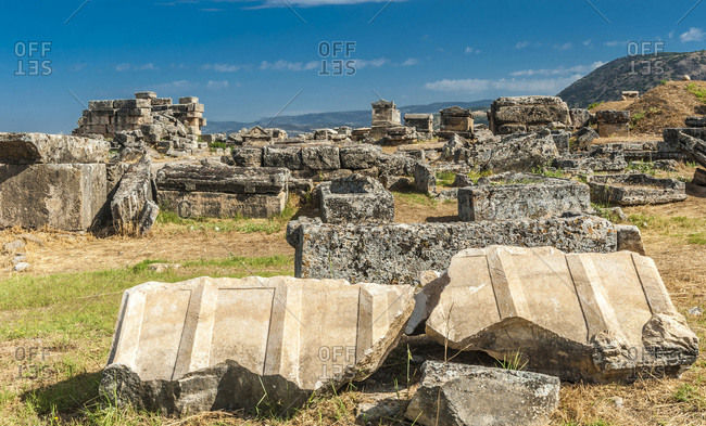 Turkey, archeological sites of the thermal spa of Hierapolis near Pamukkale (2nd century BC) (UNESCO World Heritage)