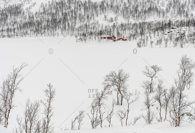 Norway, Tromso County, small red house on the edge of a snow-covered fjord