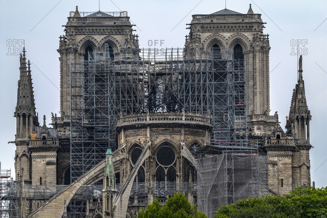 Paris, France, April 16th 2019, View of the Cathedral Notre-Dame of Paris the day after the fire
