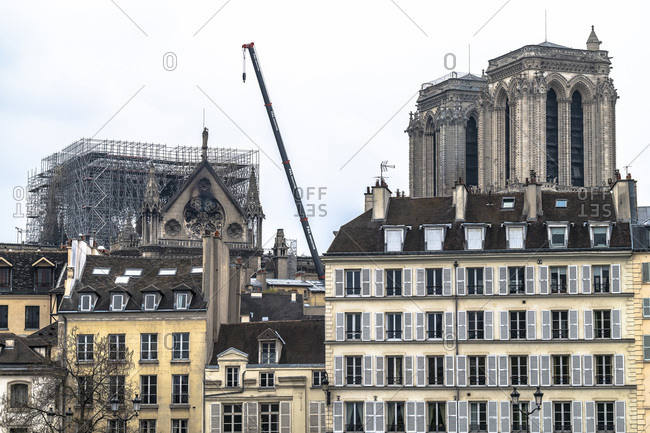 France - April 16, 2019: Paris, France, April 16th 2019, View of the Cathedral Notre-Dame of Paris the day after the fire
