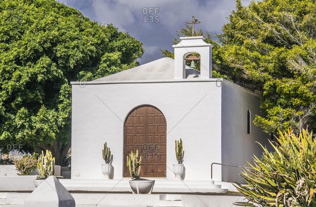 Spain, Canary Islands, Lanzarote Island, chapel of the village of Caleta de Famara